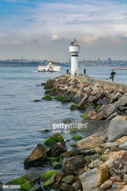 The Kadıkoy Inciburnu Lighthouse and breakwater,Istanbul,Turkey