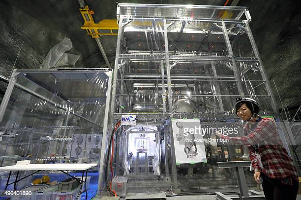 The KAGRA telescope system to detect gravitational waves is unveiled to the media on November 6 2015 in Hida Hida Japan The KAGRA now structurally...