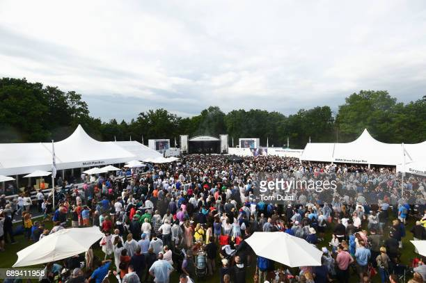 The Kaiser Chiefs perform after play on day four of the BMW PGA Championship at Wentworth on May 28 2017 in Virginia Water England