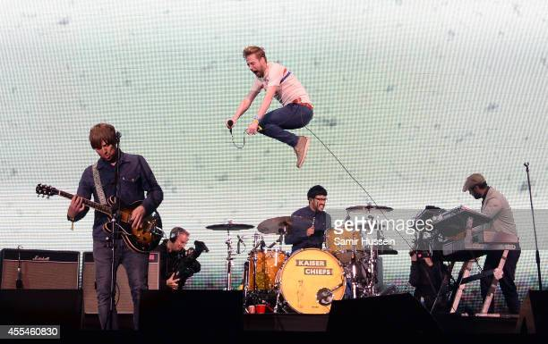 The Kaiser Chiefs perform onstage during the Invictus Games Closing Concert at the Queen Elizabeth Olympic Park on September 14 2014 in London England