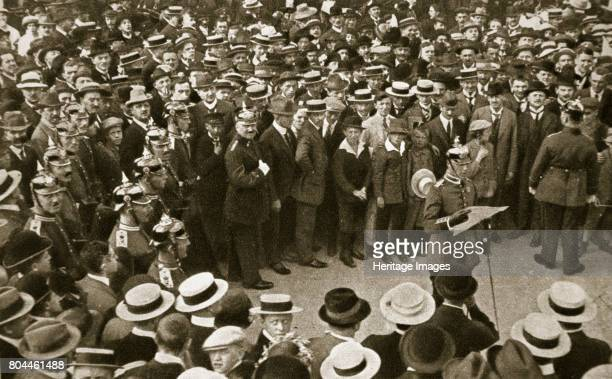 The Kaiser's proclamation of war being read out Berlin Germany 4 August 1914 The Kaiser's declaration of war against Great Britain being read by the...