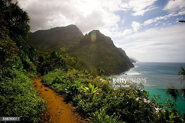 The Kalalau Trail along the Na Pali Coast of Kauai.