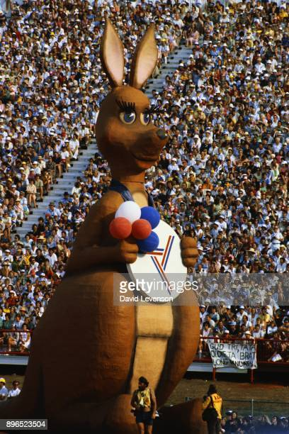 The kangaroo mascot for the Brisbane Commonwealth Games of 1982 At the closing ceremony on October 9 in Brisbane Australia