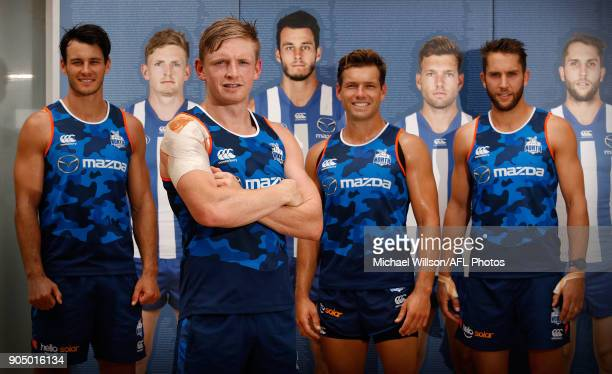 The Kangaroos 2018 leadership group Robbie Tarrant Jack Ziebell Shaun Higgins and Jamie Macmillan pose for a photograph during a North Melbourne...
