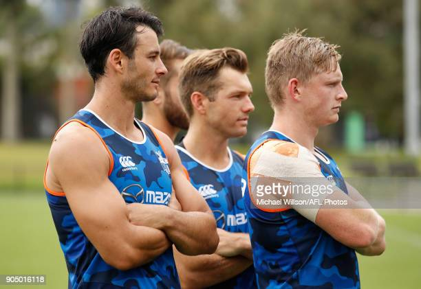 The Kangaroos 2018 leadership group Robbie Tarrant Jamie Macmillan Shaun Higgins and Jack Ziebell pose for a photograph during a North Melbourne...