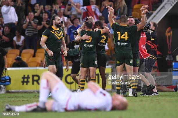 The Kangaroos celebrate winning the 2017 Rugby League World Cup Final between the Australian Kangaroos and England at Suncorp Stadium on December 2...