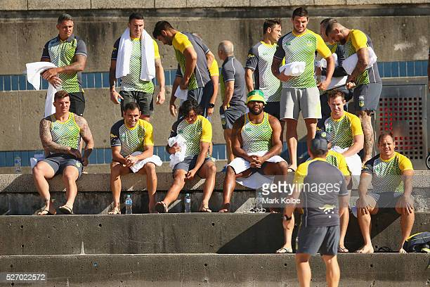 The Kangaroos prepare for the Australia Kangaroos Test team recovery session at Coogee Beach on May 2 2016 in Sydney Australia