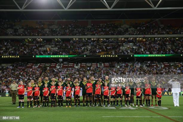 The Kangaroos sing the national anthem before the 2017 Rugby League World Cup Final between the Australian Kangaroos and England at Suncorp Stadium...