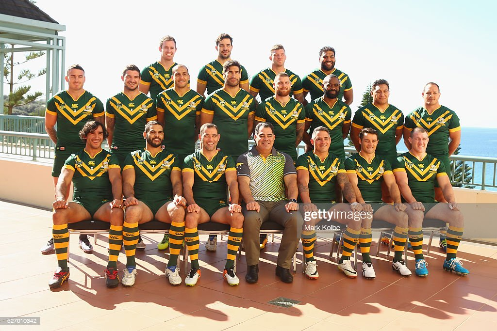 The Kangaroos team pose during the Australia Kangaroos Test team photo session at Crowne Plaza Coogee on May 2, 2016 in Sydney, Australia.