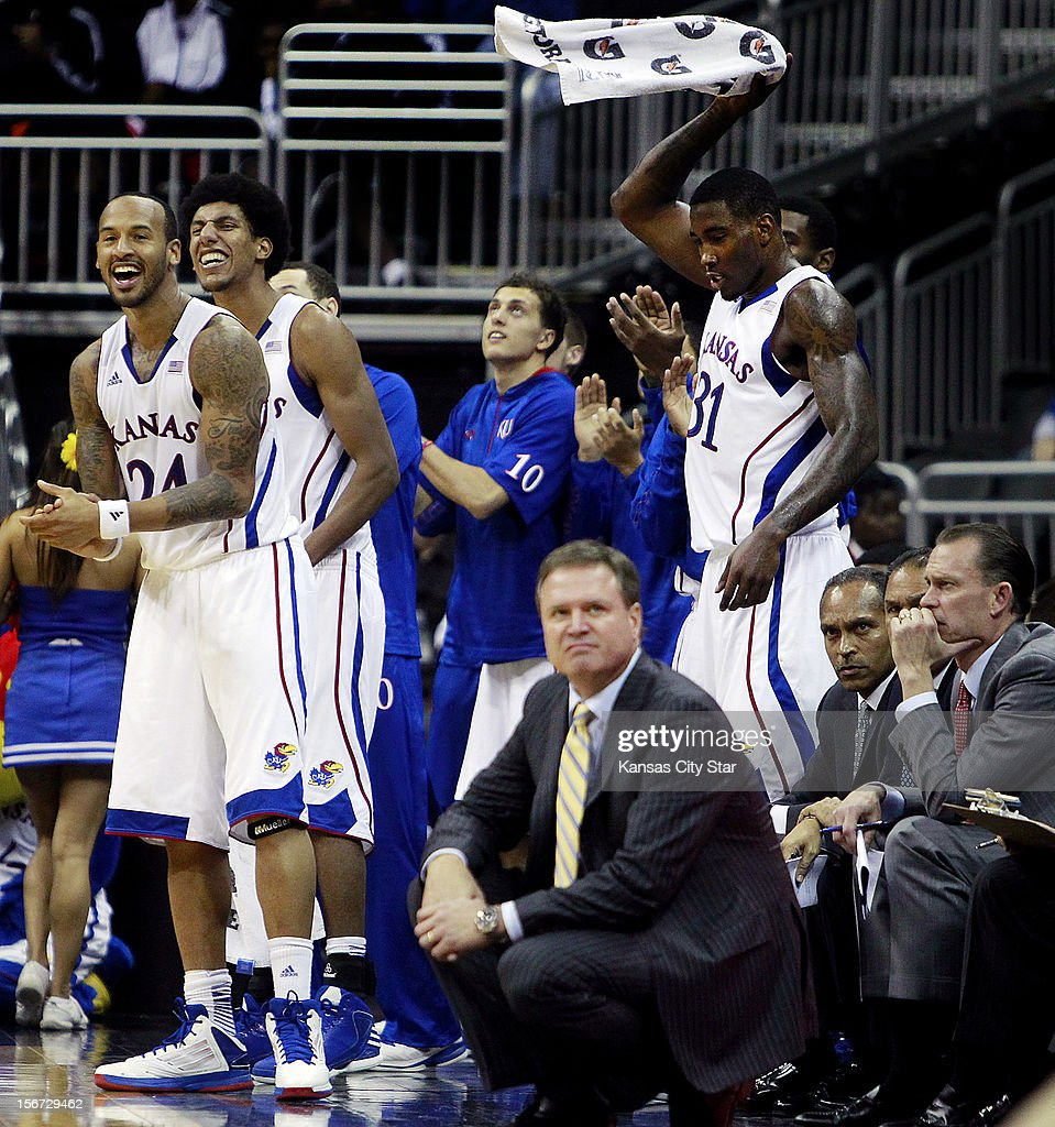 The Kansas' bench watches the action as the Jayhawks faced torrid Washington State during the first half of the CBE Hall of Fame Classic at the Sprint Center on Monday, November 19, 2012, in Kansas City, Missouri.