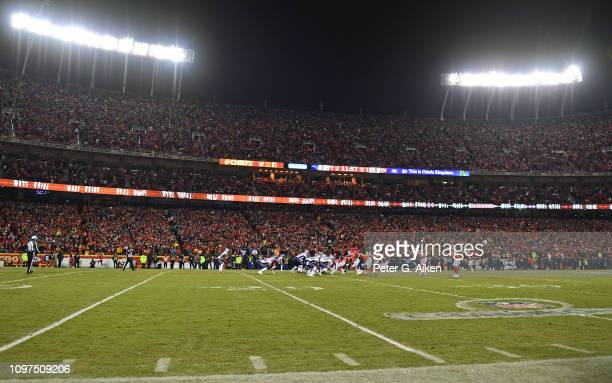 The Kansas City Chiefs and New England Patriots face off during the first half of the AFC Championship Game at Arrowhead Stadium on January 20 2019...