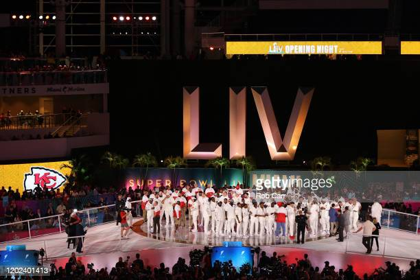 The Kansas City Chiefs arrive to Super Bowl Opening Night presented by BOLT24 at Marlins Park on January 27 2020 in Miami Florida