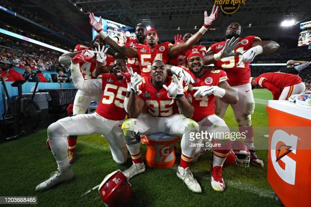 The Kansas City Chiefs celebrate against the San Francisco 49ers in Super Bowl LIV at Hard Rock Stadium on February 02 2020 in Miami Florida