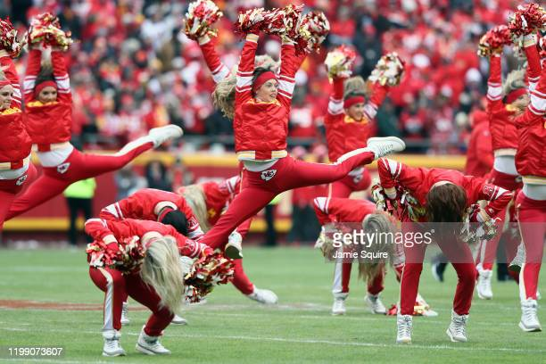 The Kansas City Chiefs cheerleaders perform prior to the AFC Divisional playoff game against the Houston Texans at Arrowhead Stadium on January 12,...