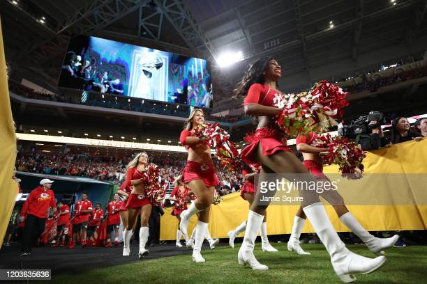 The Kansas City Chiefs cheerleaders take the field prior to Super Bowl LIV against the San Francisco 49ers at Hard Rock Stadium on February 02, 2020...