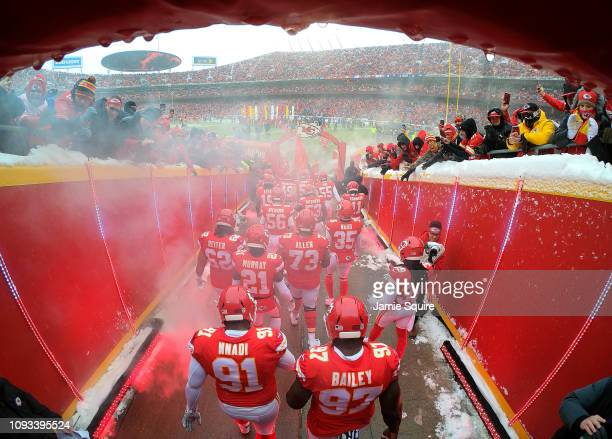 The Kansas City Chiefs exit the tunnel onto the field during player introduction prior to the AFC Divisional round playoff game against the...