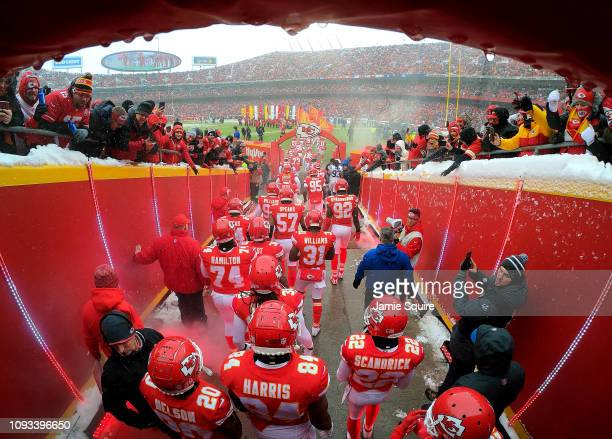 The Kansas City Chiefs exit the tunnel onto the field during player introductions prior to the AFC Divisional round playoff game against the...