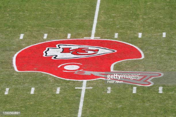 The Kansas City Chiefs helmet logo is seen on the field before the AFC Championship Game between the Kansas City Chiefs and the Tennessee Titans at...