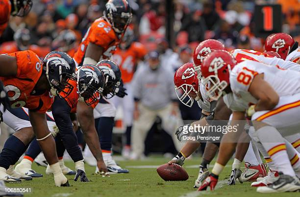 The Kansas City Chiefs offensive line prepares to snap the ball against the Denver Broncos defense at INVESCO Field at Mile High on November 14 2010...