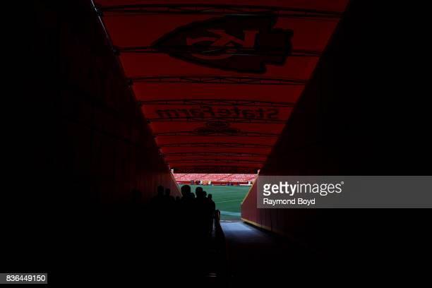 The Kansas City Chiefs players tunnel at Arrowhead Stadium home of the Kansas City Chiefs football team in Kansas City Missouri on August 12 2017