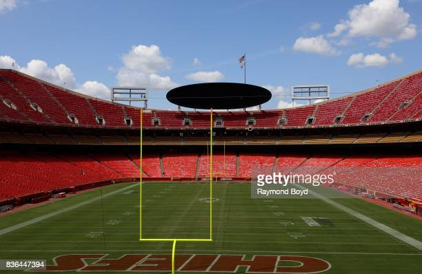 The Kansas City Chiefs playing field at Arrowhead Stadium home of the Kansas City Chiefs football team in Kansas City Missouri on August 12 2017