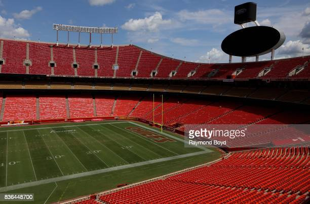 The Kansas City Chiefs playing field at Arrowhead Stadium, home of the Kansas City Chiefs football team in Kansas City, Missouri on August 12, 2017.