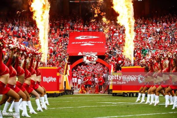 The Kansas City Chiefs prepare to take the field for their first home game of the 2017 season prior to the game against the Philadelphia Eagles at...