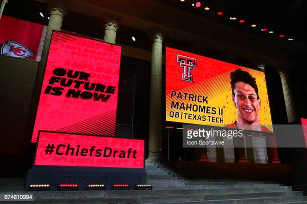 The Kansas City Chiefs select Patrick Mahomes of Texas Tech with the 10th pick at the 2017 NFL Draft at the 2017 NFL Draft Theater on April 27 2017...