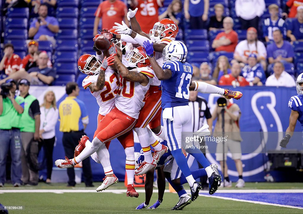 The Kansas City Chiefs stops the last pass of the game on fourth down for the Indianapolis Colts at Lucas Oil Stadium on October 30, 2016 in Indianapolis, Indiana.