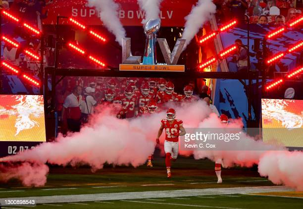 The Kansas City Chiefs take the field before Super Bowl LV against the Tampa Bay Buccaneers at Raymond James Stadium on February 07, 2021 in Tampa,...