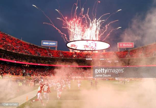 The Kansas City Chiefs take the field before the AFC Championship game against the Buffalo Bills at Arrowhead Stadium on January 24, 2021 in Kansas...