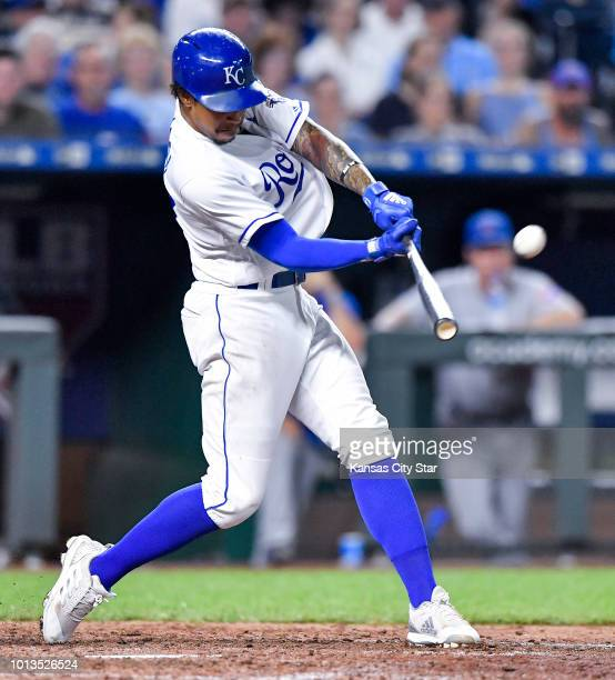 The Kansas City Royals' Adalberto Mondesi connects on a threerun home run in the seventh inning against the Chicago Cubs on Wednesday Aug 8 at...