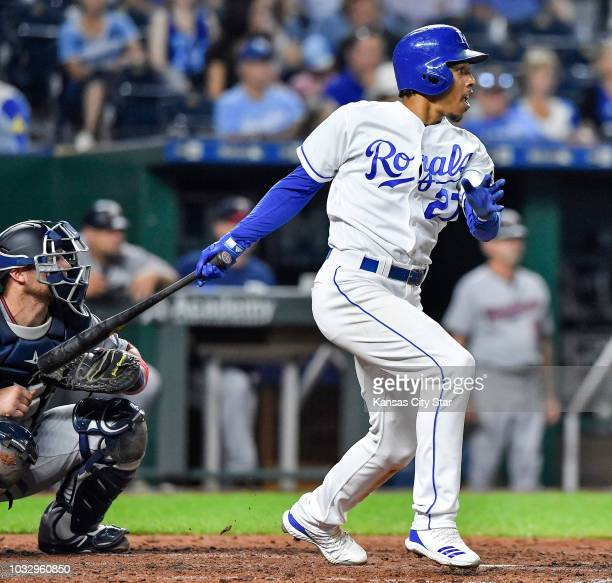 The Kansas City Royals' Adalberto Mondesi folllows through on an RBI single in the sixth inning against the Minnesota Twins on Thursday Sept 13 at...