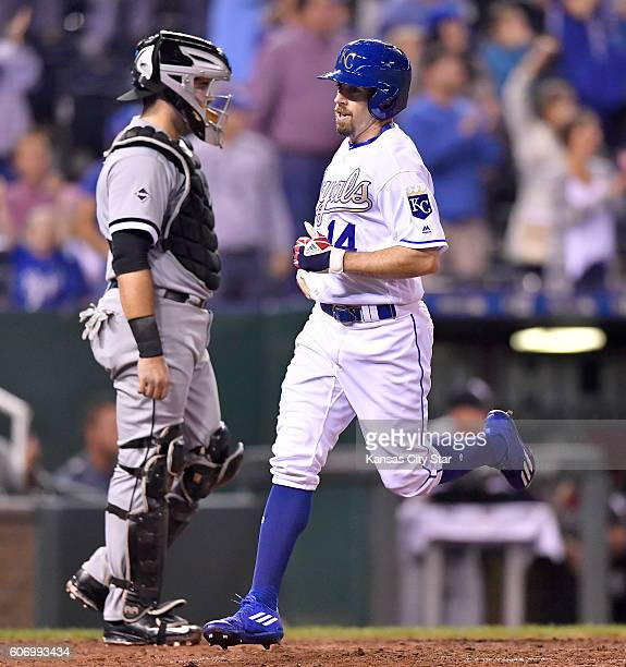 The Kansas City Royals' Billy Burns scores in front of Chicago White Sox catcher Alex Avila left on a triple by Whit Merrifield in the sixth inning...
