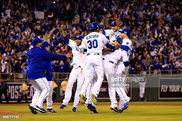The Kansas City Royals celebrate after defeating the Los Angeles Angels 83 to sweep the series in Game Three of the American League Division Series...