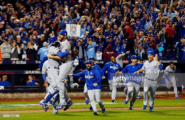 The Kansas City Royals celebrate after defeating the New York Mets in game five of the 2015 World Series at Citi Field on November 1 2015 in the...