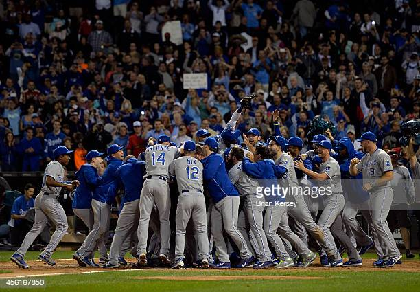 The Kansas City Royals celebrate after the final out of the ninth inning to defeat the Chicago White Sox and clinch a Wild Card berth at U.S....