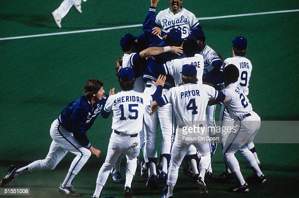 The Kansas City Royals celebrate after winning Game Seven during the World Series against the St Louis Cardinals at Royals Stadium on October 27 1985...