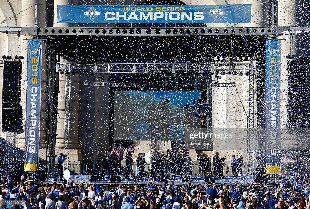 The Kansas City Royals celebrate at a rally following a parade in honor of their World Series win on November 3, 2015 in Kansas City, Missouri.