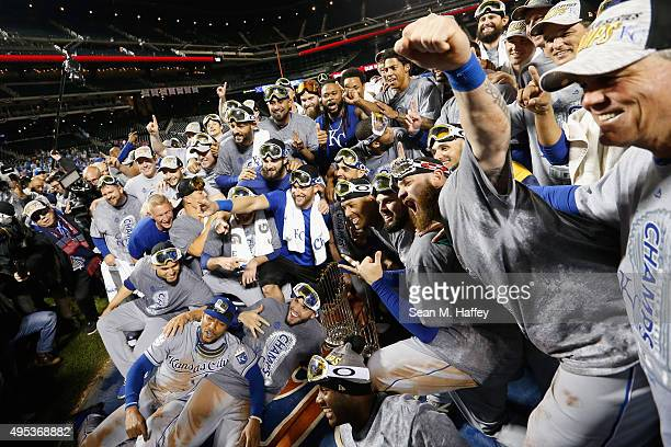 The Kansas City Royals celebrate defeating the New York Mets to win Game Five of the 2015 World Series at Citi Field on November 1, 2015 in the...