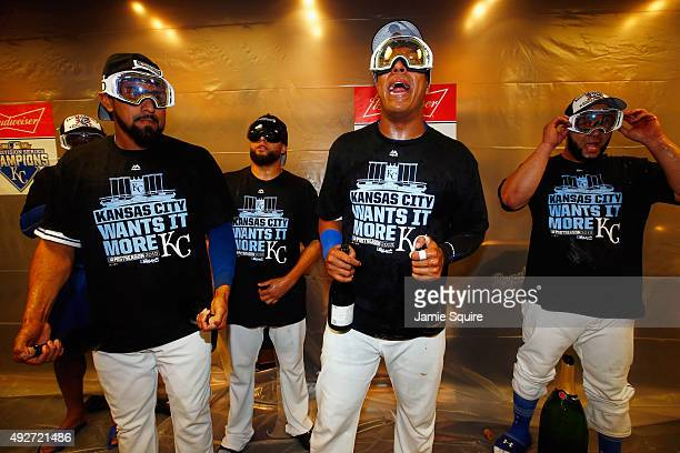 The Kansas City Royals celebrate in the clubhouse after defeating the Houston Astros 72 in game five of the American League Divison Series at...