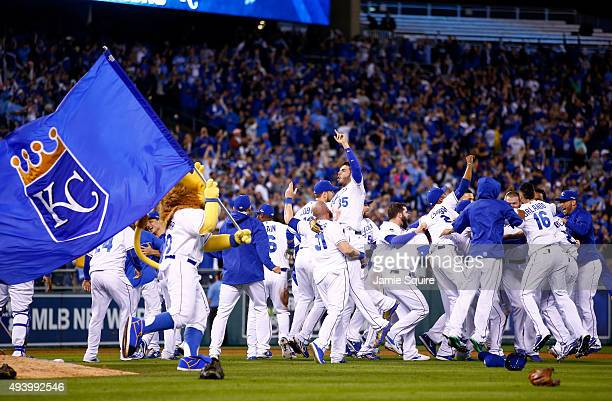 The Kansas City Royals celebrate the 4-3 victory against the Toronto Blue Jays in game six of the 2015 MLB American League Championship Series at...