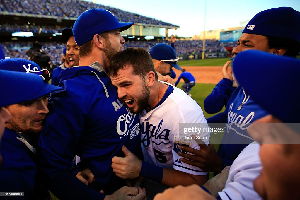 The Kansas City Royals celebrate their 2 to 1 win over the Baltimore Orioles to sweep the series in Game Four of the American League Championship Series at Kauffman Stadium on October 15, 2014 in Kansas City, Missouri.