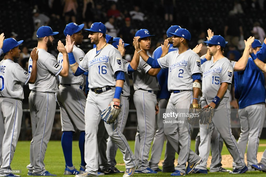 The Kansas City Royals celebrate their win against the Chicago White Sox on September 23, 2017 at Guaranteed Rate Field in Chicago, Illinois. The Royals defeated the White Sox 8-2.