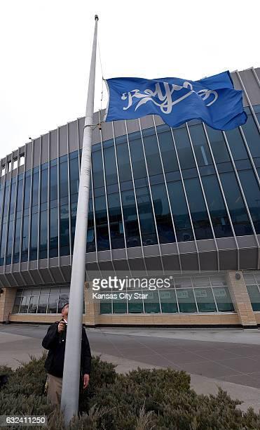 The Kansas City Royals flag is lowered to halfstaff on Sunday Jan 22 2017 outside Kauffman Stadium in Kansas City Mo in memory of Kansas City Royals...