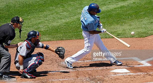 The Kansas City Royals' Jose Guillen connects on a second inning solo home against the Cleveland Indians The Royals defeated the Indians 61 at...