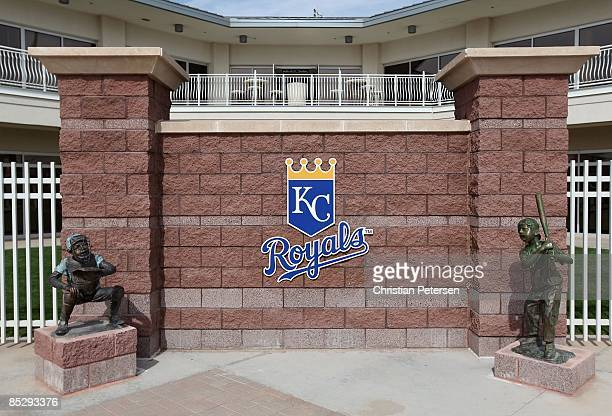 The Kansas City Royals logo is seen outside of the team offices before the spring training game against the Texas Rangers at Surprise Stadium on...