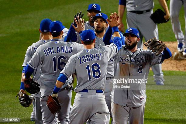 The Kansas City Royals reacts after defeating the New York Mets by a score of 53 to win Game Four of the 2015 World Series at Citi Field on October...