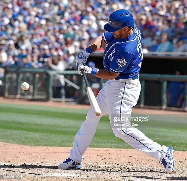 The Kansas City Royals' Reymond Fuentes connects on an RBI single in the fifth inning against the Chicago Cubs on Wednesday March 16 at Surprise...