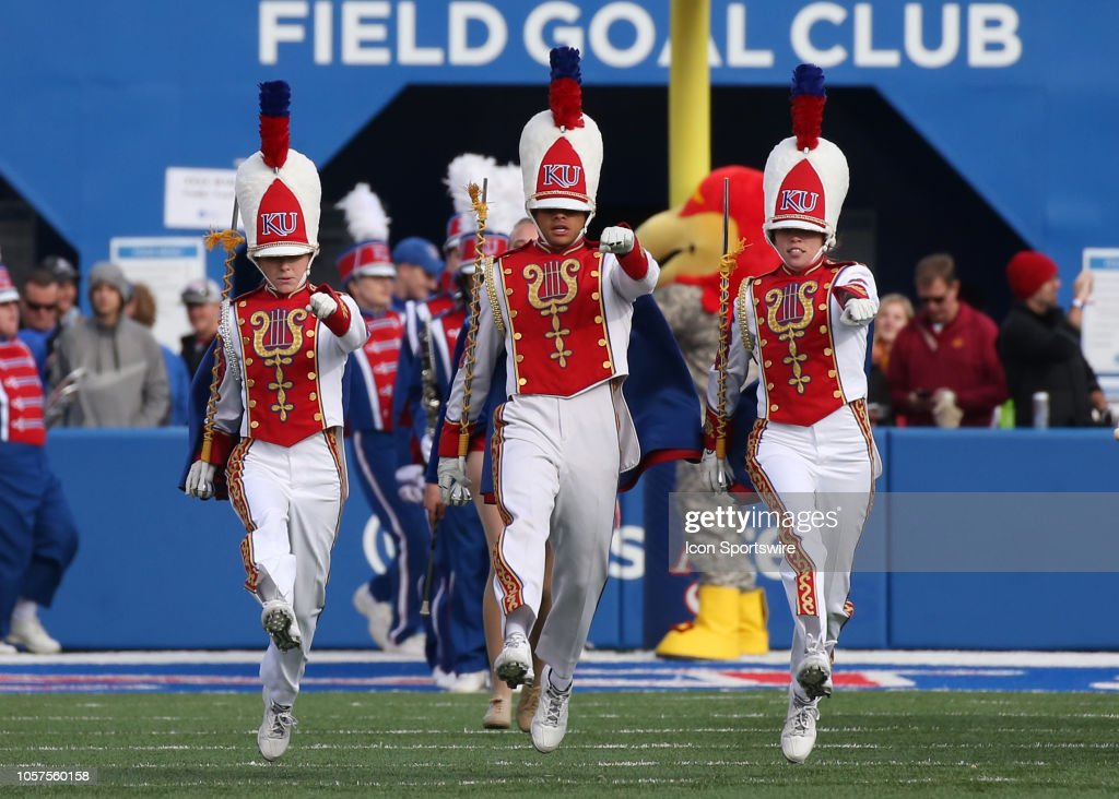 The Kansas Jayhawk marching band before a Big 12 football
